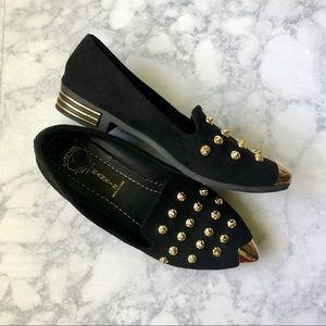 Black & Gold Studded Loafers Size 7